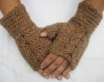 sale off 50% Fingerless gloves,Crocheted Brown Multicolor Fingerless Half Gloves with Cable, winter fingerless, christmas day gift