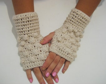 BLACK FRIDAY SALE! Fingerless Gloves bridal winter gloves Crocheted Arm Warmers Milky White Accessory with crochet Snowballs Winter  gloves