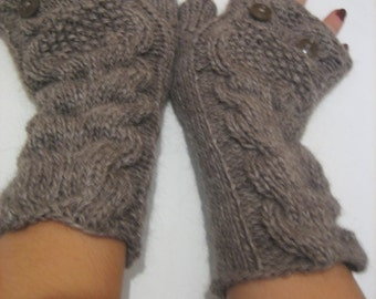 women fingerless gloves Fingerless Knitting Gloves, Arm Warmers Brown gloves winter accessory woman accesories,Owl Knitted Fingerless Gloves