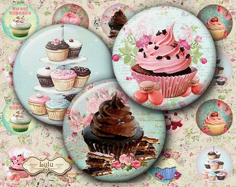 Sweet Cupcakes 2 - Instant Download - 1 inch circle - Digital Collage Sheet - Bottle cap Images - Digital Images - Printable Sheet - Cupcake