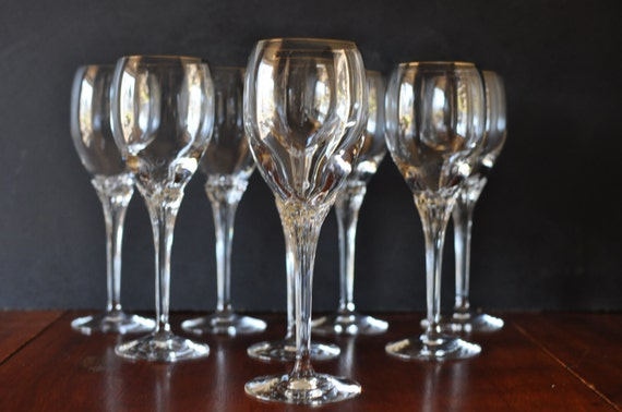 Reserved lenox fine crystal erica wine glass set of 8 gold - Lenox gold rimmed wine glasses ...