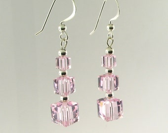 Swarovski Cube Crystal and Sterling Silver Beads