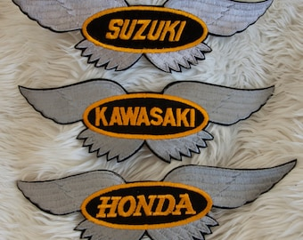 Vintage Winged Japanese Motorcycle Patches