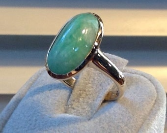Classic Green Jade and 14K Ring