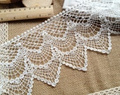 Cotton Lace Trim Vintage Crochet Lace White Hollowed Out Lace Trim 4.52 Inches wide 1 Yard
