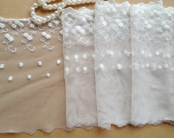 2 Yards Off White Lace Fabric Embroidered Mesh Lace Wedding Dress Home Decor Costume Supplies