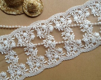 Beautiful Embroidered Lace Trim Off White Wedding Lace Floral Lace Trim 5.03 inches wide 2 yards