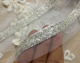1 Yard Beaded Lace Trim in White For Bridal, Headbands, Jewelry, Costumes, Crafts