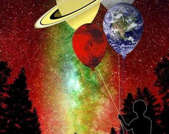 Planetary Balloons Art Print