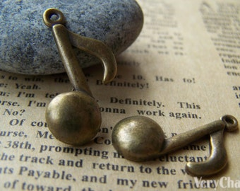 20 pcs of Antique Bronze Huge Music Note Charms 17x27mm A3662