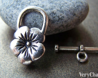 10 sets Antique Silver Flower Toggle Clasps Closure 13x20mm A1264