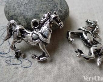5 pcs of Antique Silver Horse Pendants Charms 27x32mm A6381
