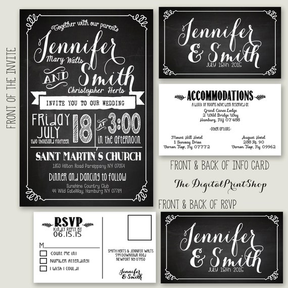 Shabby Chic Wedding Reception Invitation chalkboard printable modern wedding invite n RSVP Info Card Downloadable Printable File89 (jpg)