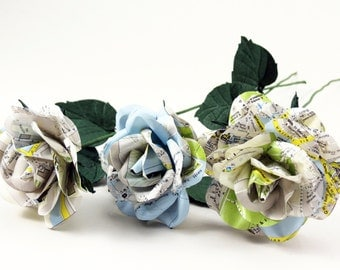 Paper Roses from Italy - 3 Eternal Roses with Vintage old City Maps