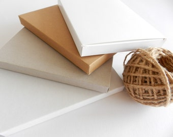 18 Kraft Boxes, White Boxes, or Gray Boxes I Medium size THIN gift boxes I Presentation boxes, packaging, card stock boxes 6.3x4.72x0.6