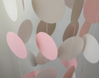 Light Gray, Light Pink, White 12 ft Circle Paper Garland- Party Decorations, Birthday, Wedding, Bridal Shower, Baby Shower