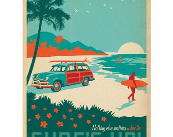 Surfs Up Beach Woodie Wagon Wall Decal #41721
