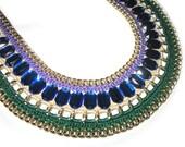 blue green necklace rhinestones, Statement necklace, Bib necklace, Trend Bold necklace