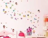 Cute Little Angel Princess and Castle + Alphabet Wall Sticker for Nursery Kids Children Especially Girls Decal Mural paper