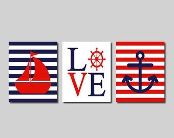 Nautical Wall Art Prints Or Canvas Nautical Nursery Decor Nautical Bathroom Sailboat Love Wheel Anchor Navy Red Kids Bathroom Decor Set of 3