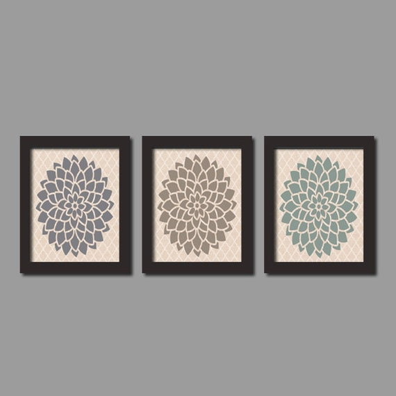 Items similar to floral fall wall art linen quatrefoil for Bathroom decor earth tones