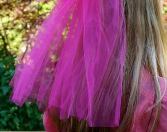 Hot Pink Bachelorette Veil