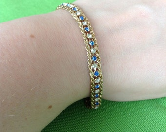 Vintage Korea Chain and Rhinestone Bracelet (Item 451)