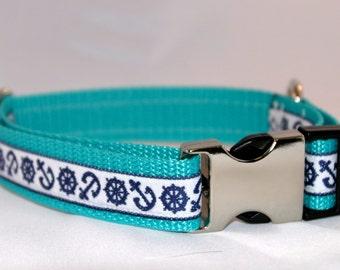 Ahoy! Nautical Navy Dog Collar