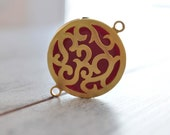 1 Piece Gold Plated Enamel Metal Bezel Charm with Stone, Jewelry Findings, Vintage Pendant
