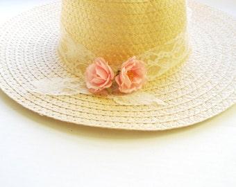 Summer hat, Sun hat, Beach Sun Hat,flower sun hat,Women's Wide Brim hat, Black bow,Beach- Pool hat