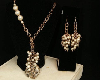 Cluster chained pearl earrings and necklace