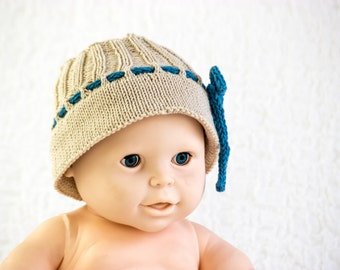 Baby Summer Hat In Beige Cotton With I-Cord Drawstring and Broad Brim
