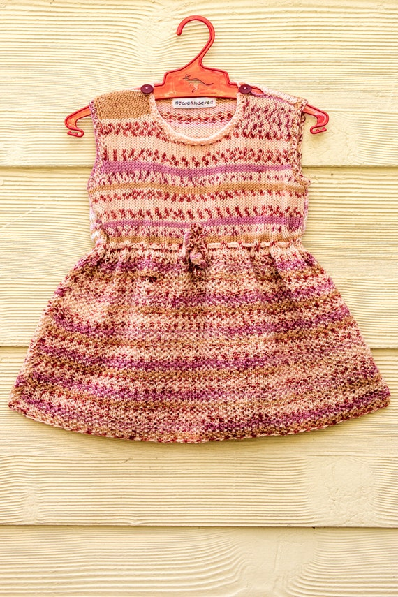Knitted Cute And Pretty Pink Wool Baby Dress in Moss Stitch