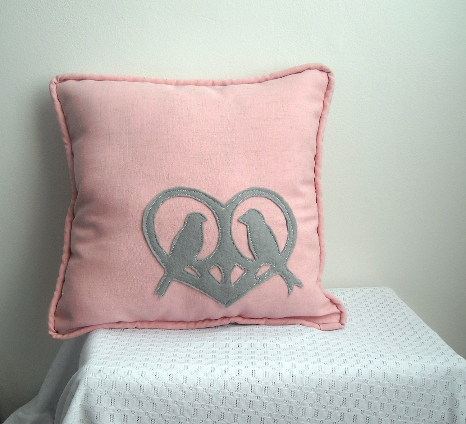 Pink and Gray Lovebird Throw Pillow
