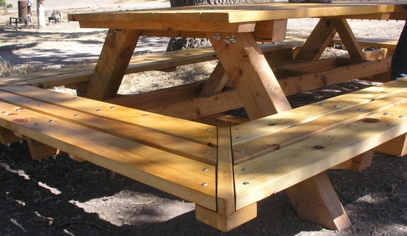 Great Custom Made Picnic Tables, Large Thru Bolt Picnic Tables, Redwood Picnic  Table. Wide Wrap Around Bench