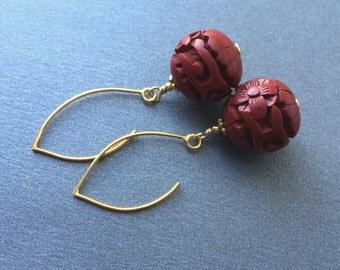 Cinnabar Earrings, Vermeil Wires, Red Gold Earrings, Vintage Cinnabar
