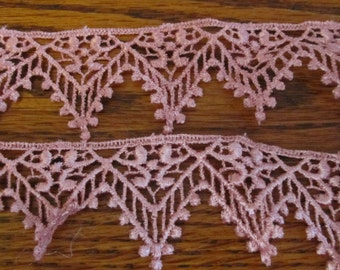 "Pink Rose Lace 1 1/2"" wide"