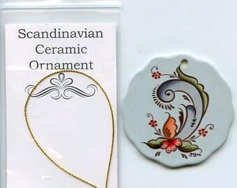 Ceramic Scalloped Edge Ornament - Norwegian Rosemaling #310