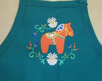 Embroidered Scandinavian Swedish Dala Horse & Flower on Green or Black  Apron #824