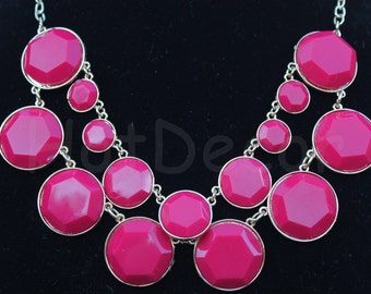 Necklace for party Statement necklace Bubble necklace Pink necklace gift for holiday Bib Necklace for women Chunky Necklace Bead necklace