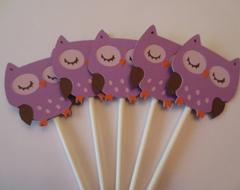 12 Purple Owl Cupcake Toppers