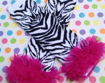 Baby Leg Warmers, Zebra and Hot Pink Ruffle Leg Warmers, Baby Girl Leg Warmers, Photography Prop