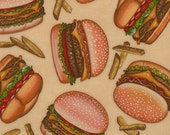 RJR Fabrics Dan Morris Top Nosh 1490 02 Burgers and Fries on Beige By the Yard
