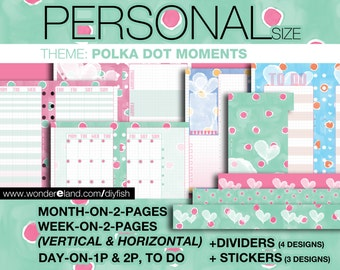 PERSONAL Inserts- Polka Dot Moments Theme - Refills Full set Filofax Collins