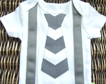 Baby Boy Clothes - Baby Boy Tie and Suspenders Outfit - Grey Chevron Tie With Grey Suspenders - Coming Home Outfit - Boys First Birthday