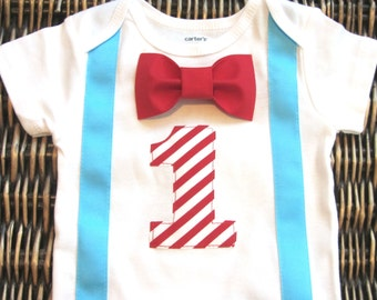 Dr. Seuss Cat in the Hat Birthday Shirt - Bow Tie Suspenders  - Boys First Birthday Outfit - Baby Boy Clothes - Carnival Birthday - Red Blue