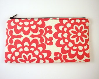 Zipper Pouch, Pencil Pouch, Cosmetic Bag, Gadget Bag, Amy Butler, Red