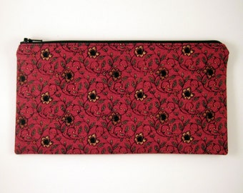 Red Floral Zipper Pouch, Gadget Bag, Make Up Bag, Pencil Pouch