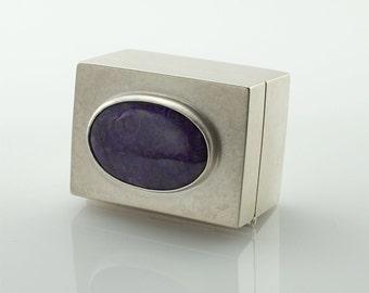 Sterling Silver Box with Sugilite Cabochon - Pill Box - Presentation Box - Hinged Box - Treasure Box