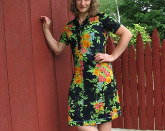 Vintage 1960s Dress - Summer Dress - Vivid Colors